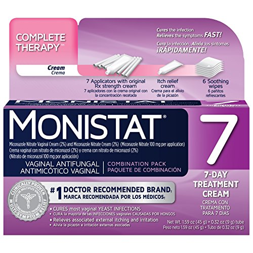 Monistat 7 Complete Therapy Combination Pack, 7 Day Treatment for Feminine Yeast Infections, Contains: 7 RX Strength Cream, Itch Relief Cream and 6 Soothing Wipes,#1 Doctor Recommended Brand,Pack of 4 (Combination Therapy)