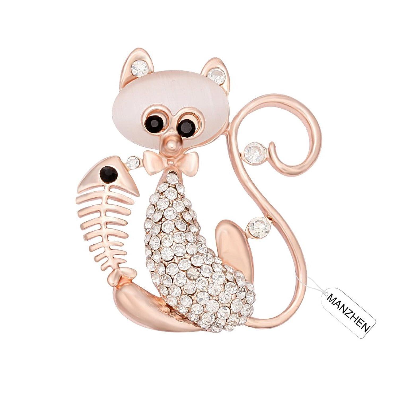 MANZHEN Animal Jewelry Rhinestone Cat and Fish Bone Fashion Brooch Pins