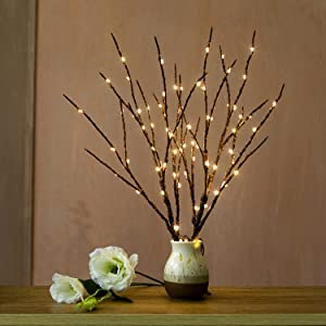 Decorative Lighted Branches | Warm White 70 Led Battery Operated with Timer | Artificial Branch Lights for Christmas Halloween Valentines Easter Party Birthday Decor Indoor Outdoor ( Brown)