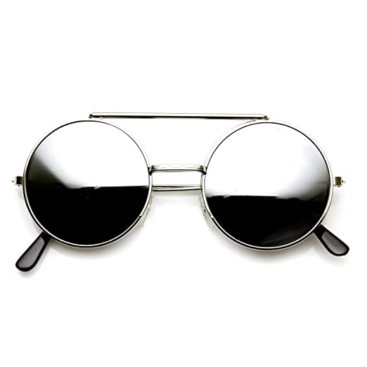 7104703789b Image Unavailable. Image not available for. Color  Limited Edition Color  Flip-Up Lens Round Circle Django Sunglasses (Silver Mirror)