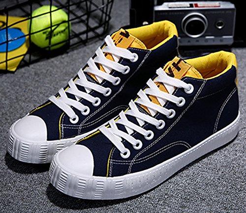 pretty nice 5c35c d8c09 Idifu Mens Comode Scarpe Basse Alte In Tela Con Tacco Alto Scarpe Da  Skateboard Blu ...