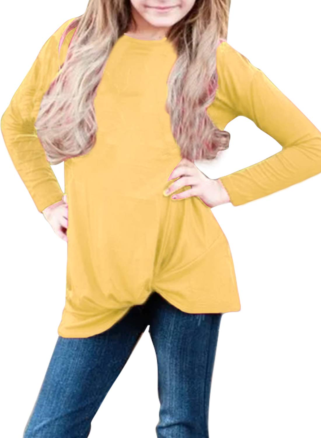 Bulawoo Girls Clothing Casual Long Sleeve Knot Front Tunic Tops Blouse Little Girls Loose Fashion Tee Shirts Size 4-5 Yellow
