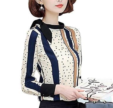 471910503290da Jmwss QD Womens Casual Chiffon Striped Printing Long Sleeve Top Apricot XS