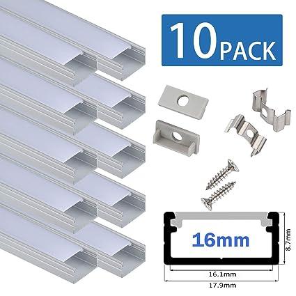 Profil LED 10x100cm für 16mm breite Light Strip, U-förmiges LED Strip Channel System mit Abdeckung, Endkappen und Montageclip
