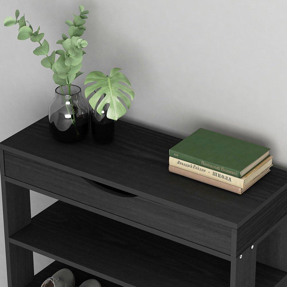 L24-BK de Color de la Negro soges Estante para Zapatos de 5 Gradas de Madera S/ólida Estante de Almacenamiento de Zapatos Organizador para Cosas