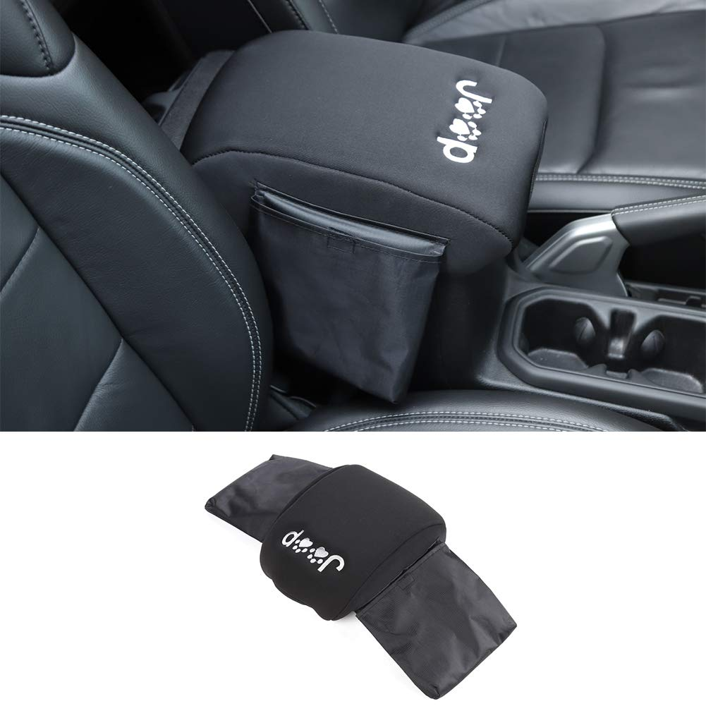 A Style Velvet Black Car Armrest Cloth Cover Surround Decoration for Jeep Wrangler JL 2018