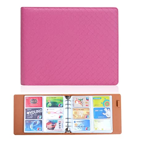 Amazon yepmax pink business card book name card holder credit yepmax pink business card book name card holder credit cards organizer 360 cell reheart Image collections