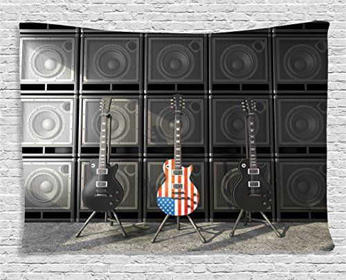 (Ambesonne American Flag Tapestry, Black and Us Bass Guitar Electronic Rock Music Theme Digital Graphic Work, Wall Hanging for Bedroom Living Room Dorm, 80 W X 60 L Inches, Charcoal Red)