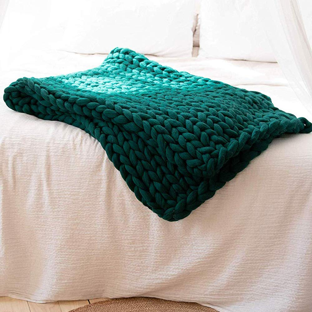 Dark Green Super Chunky Knit Blanket,Arm Knit Blanket,Merino Wool Blanket 79x79in Super Chunky Blanket,Handmade Blanket Bed Couch Sofa Decor by Clisil (Image #2)