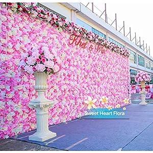 MaxxCloud Decorative Flower Panel Silk Rose Artificial Wall Decoration Hydrangea Flower Mat Wedding Decor 40X60cm 118