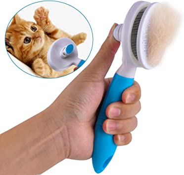 ShipeeKin Spazzola per toelettatura cani gatti, pettine districante per cani e gatto a pelo lungo con pulsante di pulizia contro i capelli annodati