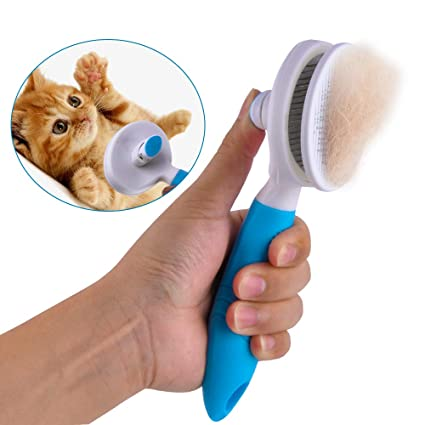 Racksoy - Cepillo de Pelo para Gatos, con botón de Limpieza para Animales pequeños
