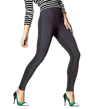 5ca42e9cf7937 HUE Womens High Waist Piped Illusion Ponte Leggings at Amazon Women's  Clothing store: