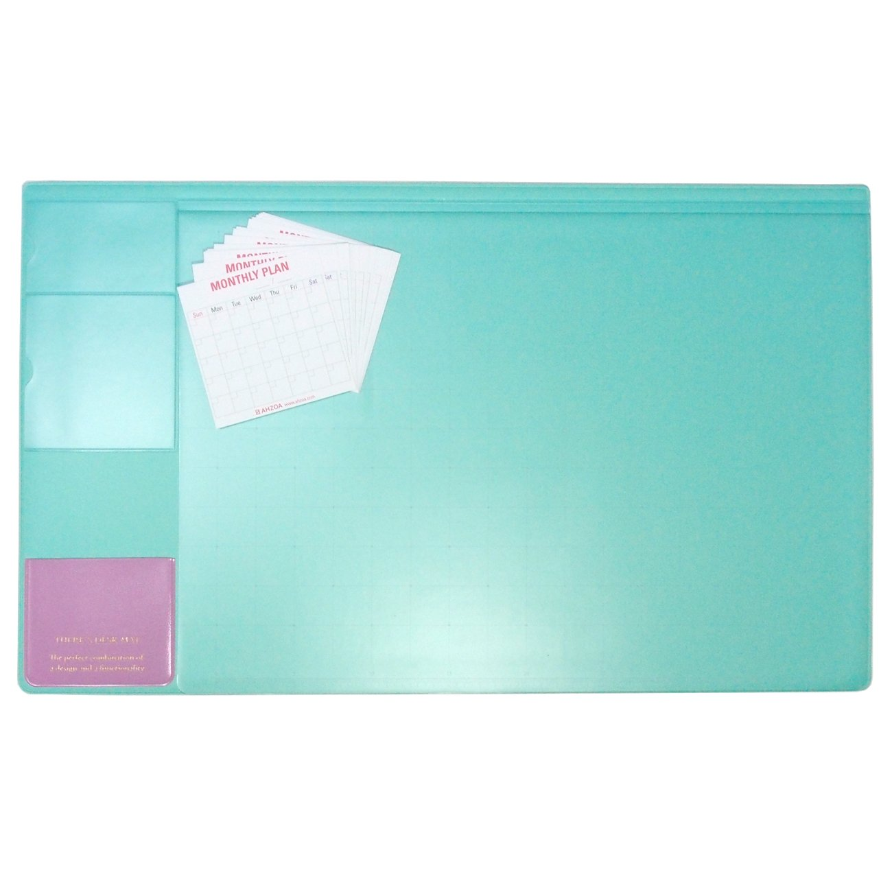 There`s 21 X 13 Inch Desk Pad with AHZOA 14 Monthly Calendar Cards (Cool Mint)