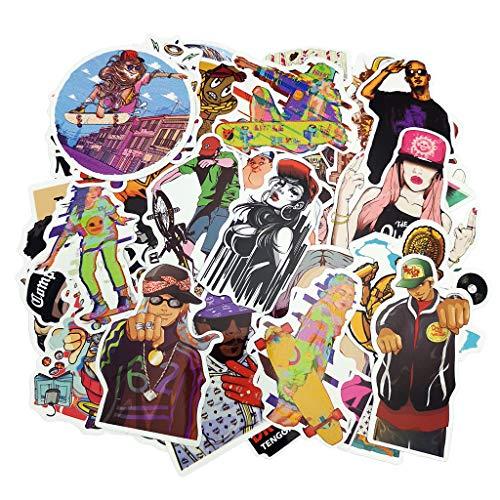 Rock Band Music Stickers Pack Vinyl Waterproof Hip-Hop Street Dance Hippie Decals for Guitar, Laptop, Skateboard, Bike, Luggage, Bicycle, Car, Bumper, Motorcycle, Trolley Case, Refrigerator, 48 PCS
