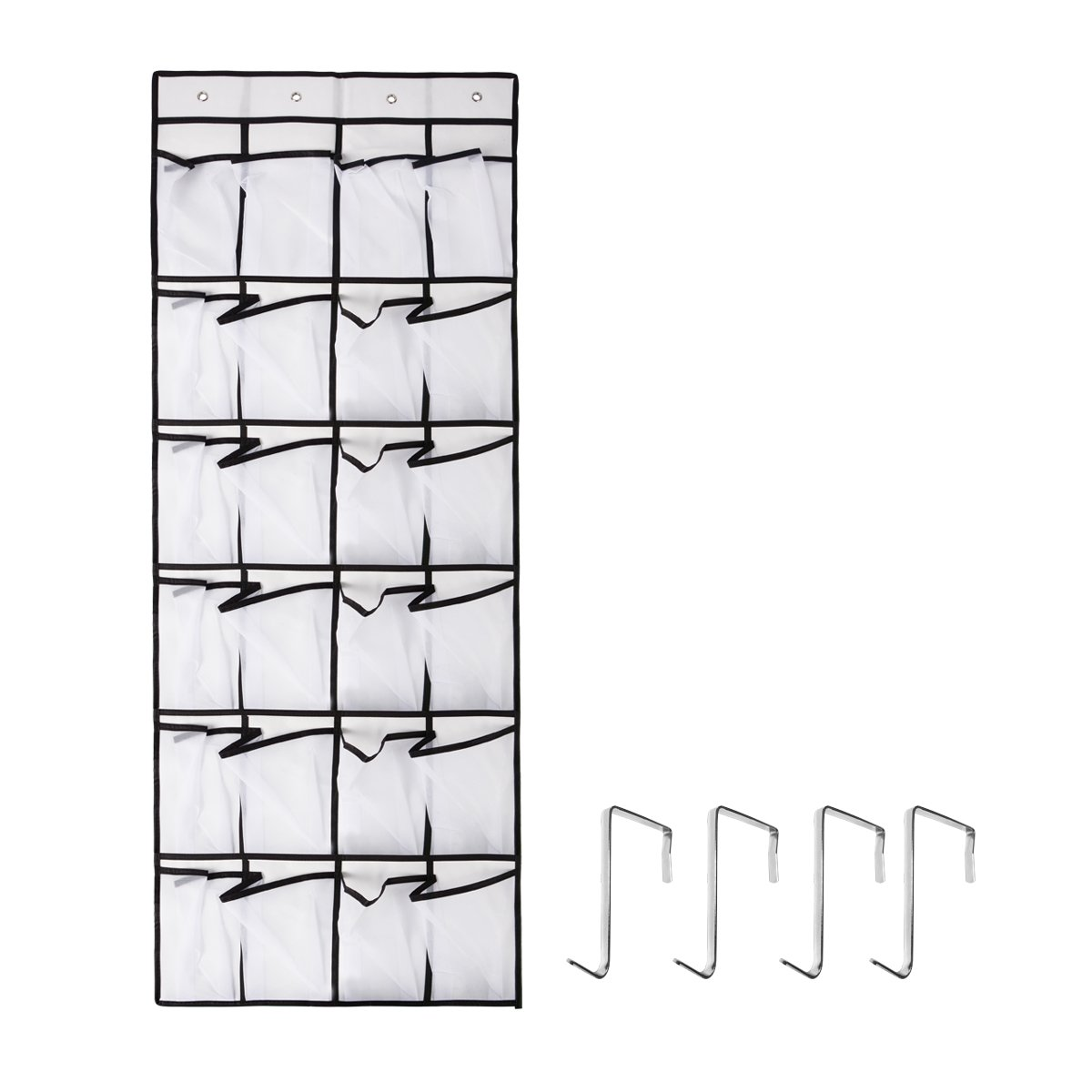 Penck Over The Door Shoe Organizer, 24 large Mesh Pockets | Heavy Duty Breathable Fabric | Hanging Tidy Storage Rack | Hang On with 4 Metal Hooks for Shoes, Closet, Laundry Room, Pantry, Bathroom G1BEJJ9010039