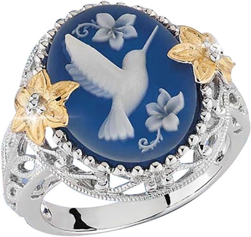 Pengyu Anillo de Regalo para Mujer con Diseño de Pájaros Blancos, Color Azul, Plateado, US 10