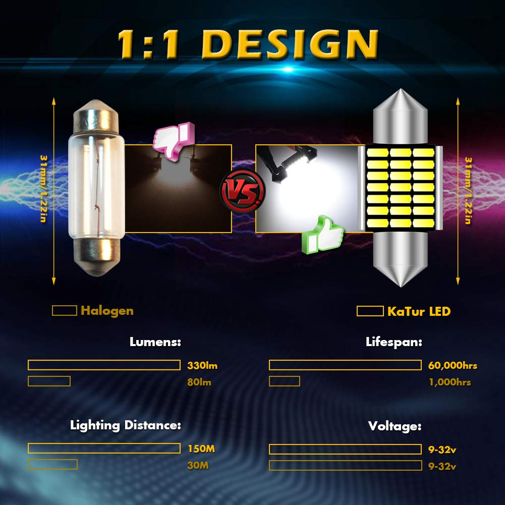 KaTur 41mm 42mm Festoon C5W Led Bulbs 6000K White Light Super Bright Chipsets Canbus Error Free for 211-2 212-2 214-2 2112 2122 569 578 Interior Dome License Plate Door Lights 4pcs,White