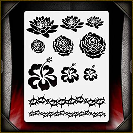 "/""Flowers/"" Airbrush Stencil Template Airsick"