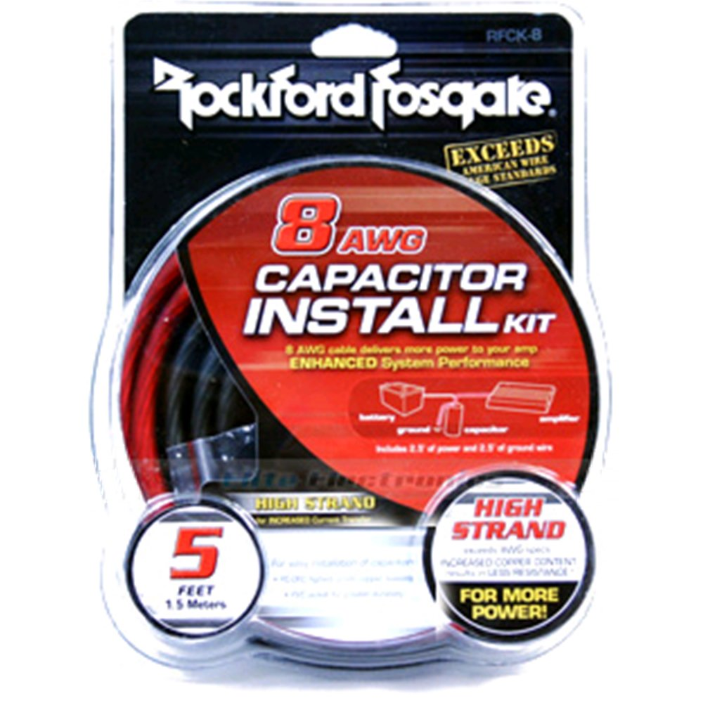Rockford Fosgate Rfck 8 Awg Capacitor Install Kit Car Maxi Fuse Installed Wiring Harness Electronics
