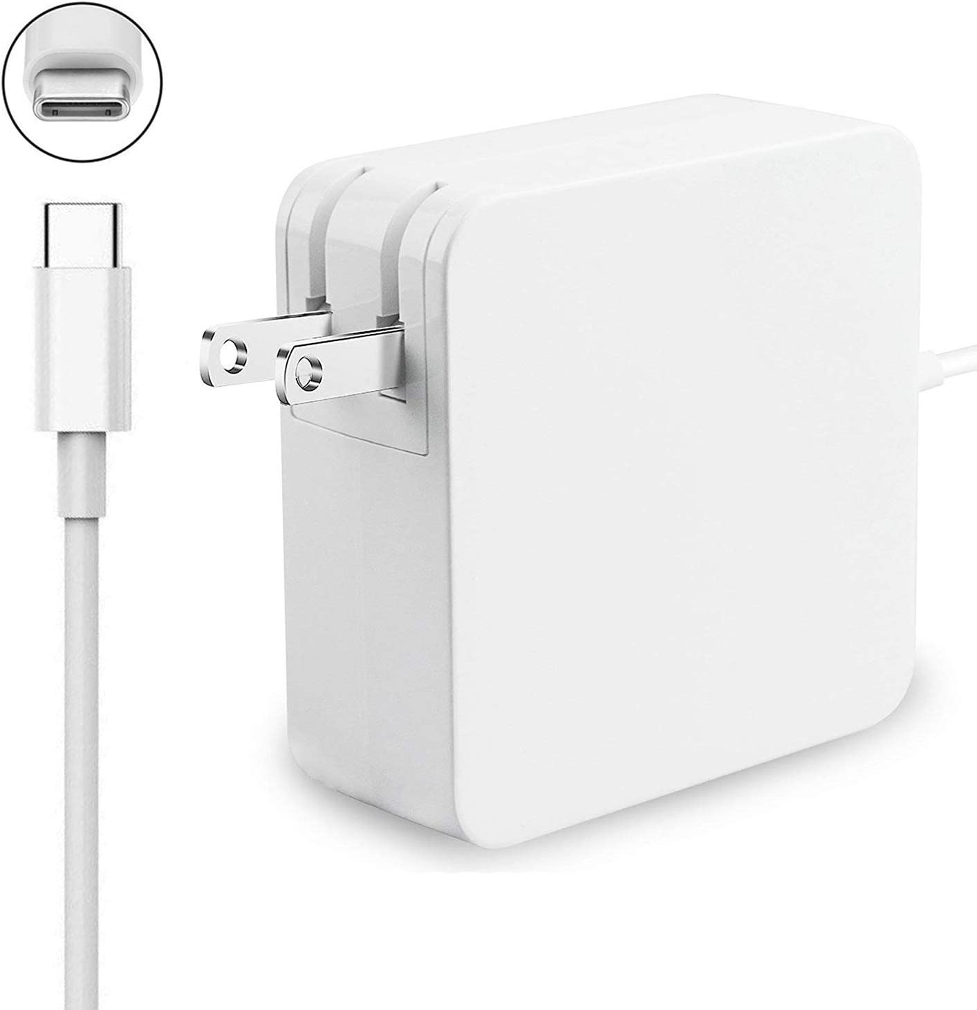 87W/90W USB-C PD Adapter Charger, Type C Power Adapter Charger (Compatible with 61W, 45W, 30W and 12W Device) for MacBook Pro Lenovo ThinkPad X1 X 270 Nintendo Switch and More Type C Laptops(White)