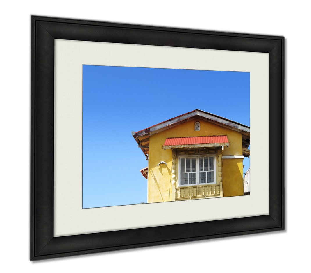 Ashley Framed Prints Yellow House On Blue Sky, Wall Art Home Decoration, Color, 34x40 (frame size), AG5431273