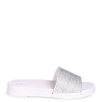 433572c6b Linzi Jamie - White Slip On Slider with Diamante Embellished Front Strap   Amazon.co.uk  Shoes   Bags