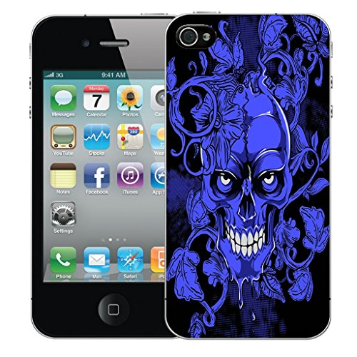 Mobile Case Mate iPhone 4 Silicone Coque couverture case cover Pare-chocs + STYLET - Blue Vine Skull pattern (SILICON)