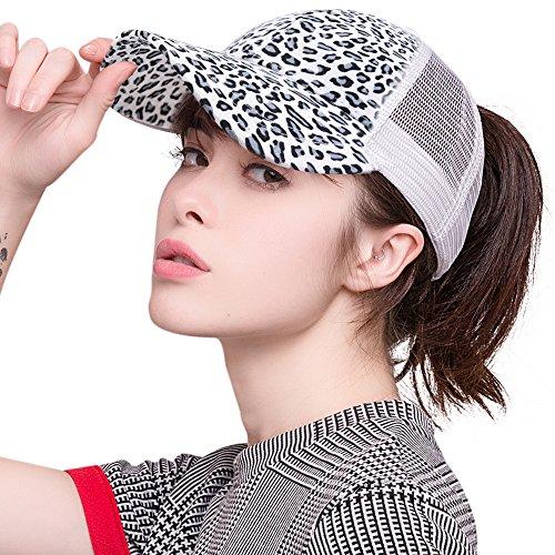 FURTALK High Faux Suede Leopard Messy Bun Ponytail Baseball Cap Hat Trucker Baseball Cap Hat for Women Girls ...