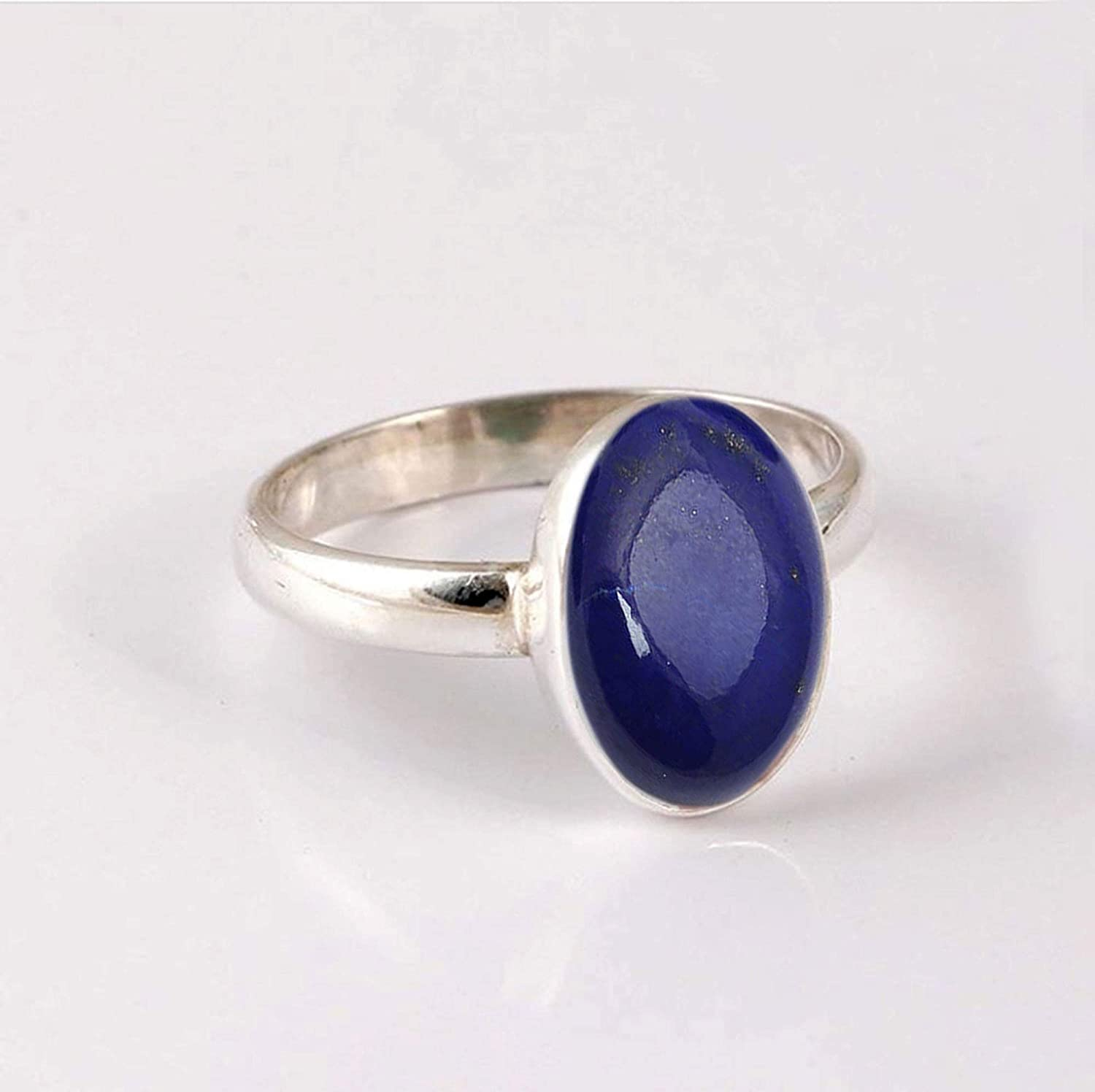 Metaphysical Healing Gemstone Minimalist Gemstone Ring Handmade Ring Womens Dainty Ring Gemstone Jewelry Genuine Deep Blue Afghani Lapis Lazuli Ring Solid 925 Silver Ring Cab Oval Gemstone Ring