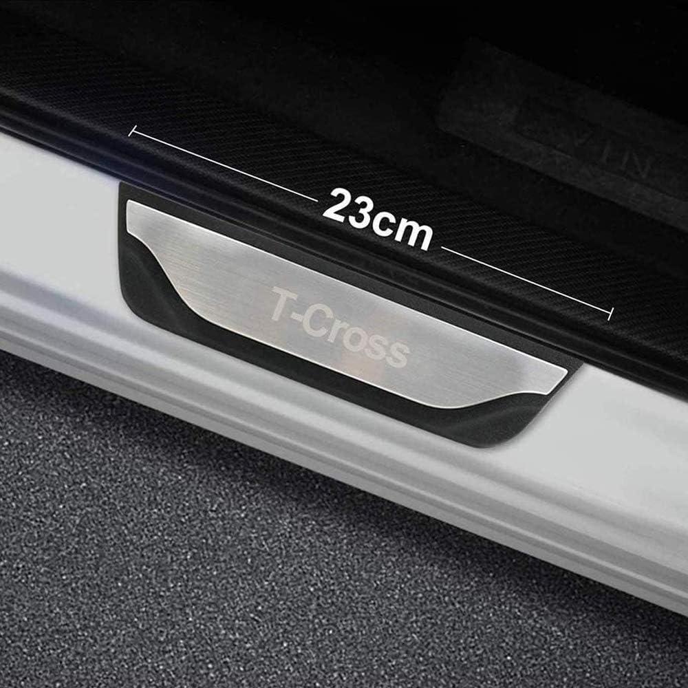 4 pi/èces Acier Inoxydable seuil de p/édale dusure Accessoires de Garniture de Protection DENGD Plinthes Garnitures de seuil de Porte pour VW Volkswagen T-Cross 2018 2019