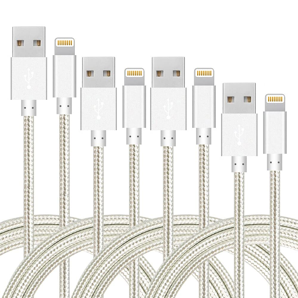 iPhone Charger Cable,Lightning Cable Nylon Braided USB Charging Cable High Speed Connector Data Sync Transfer Cord Compatible with iPhone Xs Max/X/8/7/Plus/6S/6/SE/5S iPad