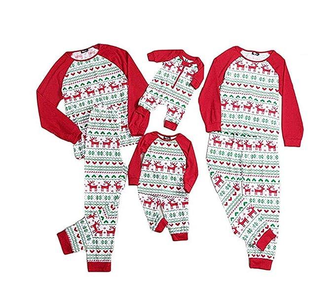 CHRONSTYLE Conjunto de Pijamas Familiares de Navidad, Trajes Navideños de Una Pieza para Mujeres Hombres