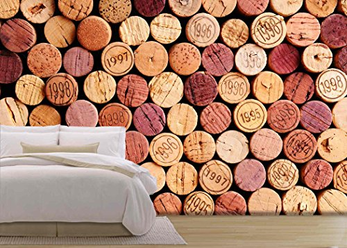 wall26 - Closeup of a Wall of Used Wine Corks. a Random Selection of Use Wine Corks, Some with Vintage Years - Removable Wall Mural | Self-adhesive Large Wallpaper - 100x144 inches