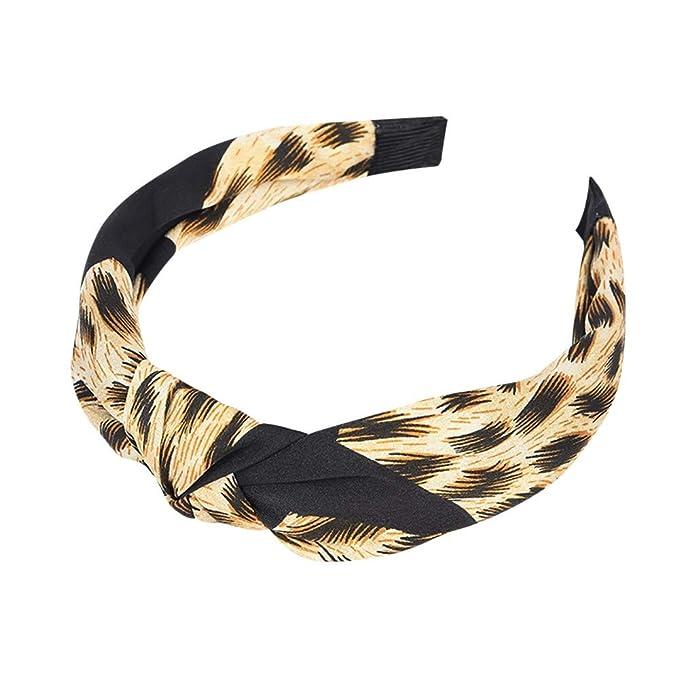 Dorical Mujer Niña Diadema Boho Leopard Twist Knot Elástico ...