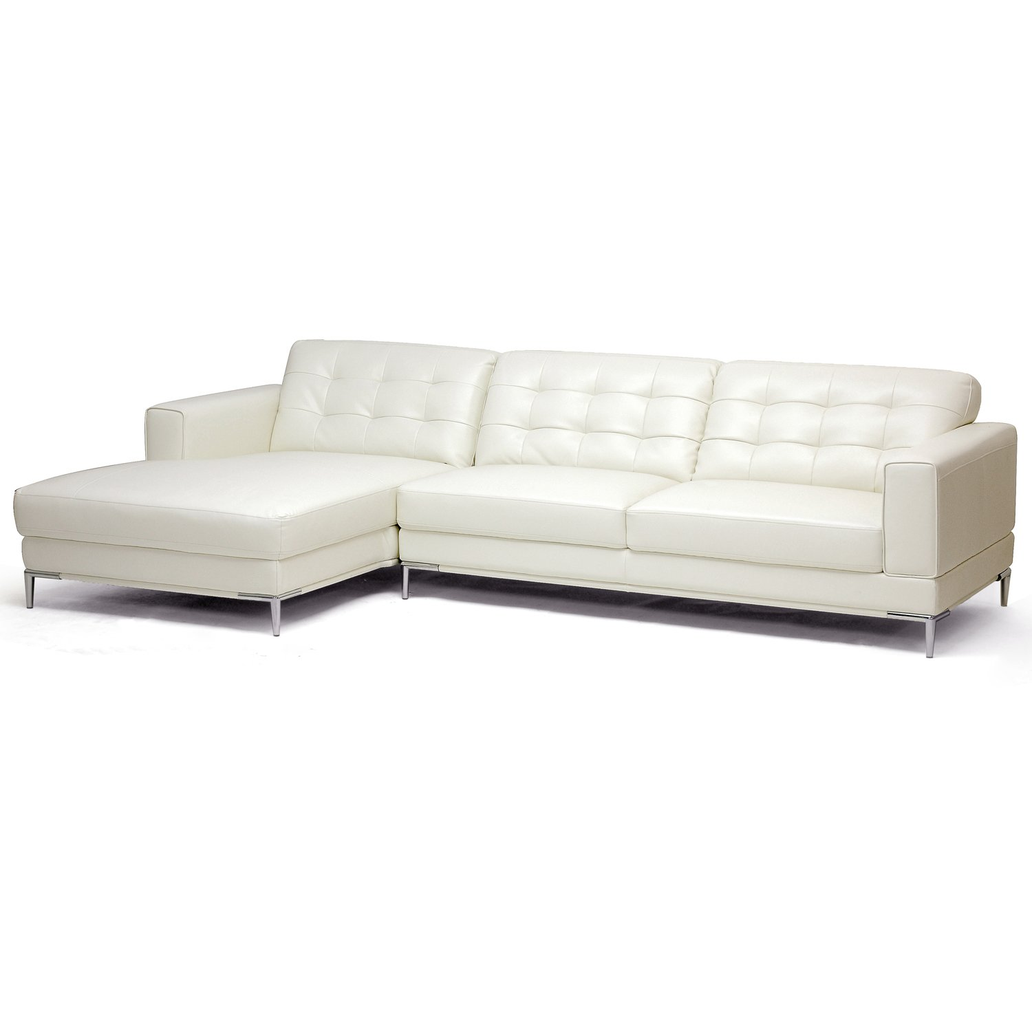 Amazon Baxton Studio Babbitt Ivory Leather Modern Sectional