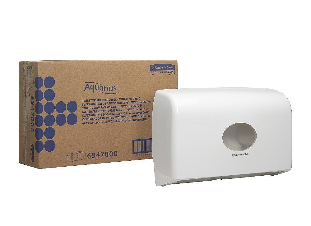 AQUARIUS 6947 Toilet Tissue Dispenser, Twin Mini Jumbo, White Kimberly-Clark Professional (EU) 6947000
