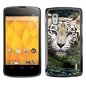 Qstar Arte & diseño plástico duro Fundas Cover Cubre Hard Case Cover para LG Google NEXUS 4 / Mako / E960 ( Tiger Water Cute Nature Swimming Animal)