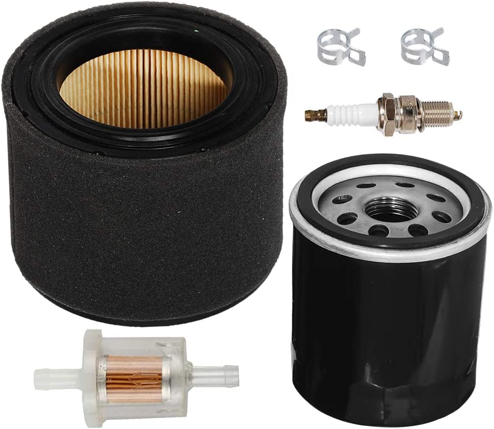 Carkio Air Filter Pre Cleaner Combo Oil Fuel Filter Spark Plug Tune Up Kit for Kawasaki FJ180V 11029-0019 11029-0032 49065-2057 49065-2078 Lawn Mower