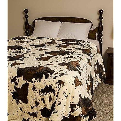 Regal Comfort Medium Weight Queen Size Cozy Plush Rodeo Cow Blanket