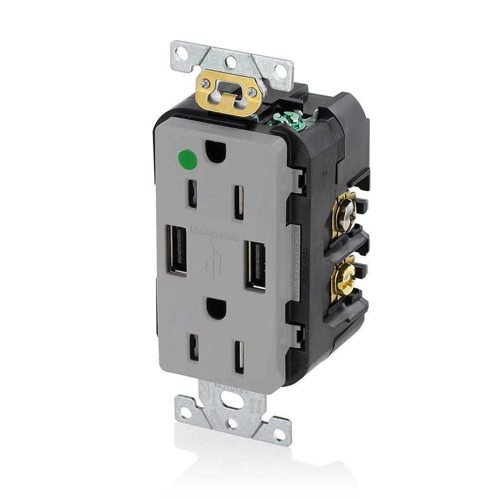 Leviton T5632-HGR 15-Amp Hospital Grade USB Charger/Tamper-Resistant ...
