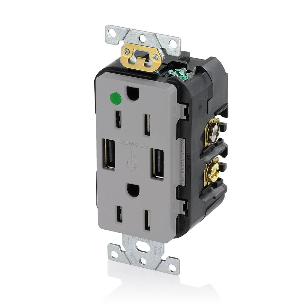 Leviton T5632-HGG 15-Amp Hospital Grade USB Charger/Tamper-Resistant ...