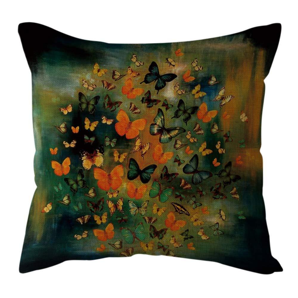 Pgojuni Cotton Linen Butterfly Home Decorative Throw Pillow Case Waist Cushion Throw Pillow Case Sofa/Couch 1pc 45X45 cm (D)
