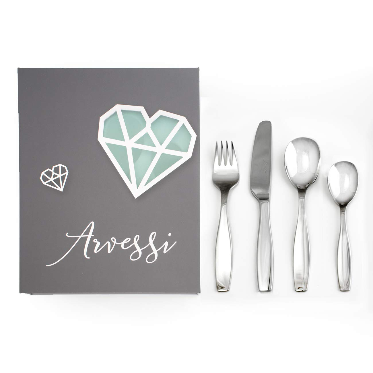 Premium Stainless Steel Kids Cutlery Set - Baby Keepsake Childrens Cutlery | 4 PCS Flatware Includes 2 Spoons Knife and Fork Set | Highest Quality Stainless Steel Cutlery Set Child Silverware by Arvessi