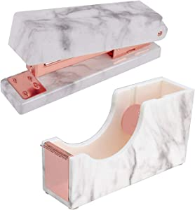 2 Pack Marble White Office Supplies Set- Stapler|Tape Despenser Office School Desk Decor Accessories (Rose Gold)