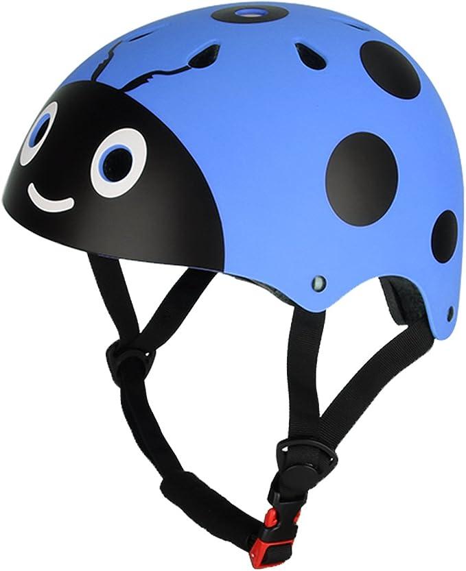 dPois Casco de Bici Ni/ño Protecci/ón Seguridad Mariquita Escarabajo Unisex Casco Infantil Mono Ajustable Dibujo Animado para Ciclismo Patinaje Sobre Ruedas Bicicleta para Ni/ños