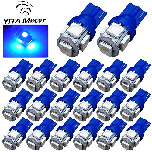 YITAMOTOR 20 PCS T10 Wedge 5-SMD 5050 Ultra Blue LED Light bulbs W5W 2825 158 192 168 194 (Dome Blue Led Lights compare prices)