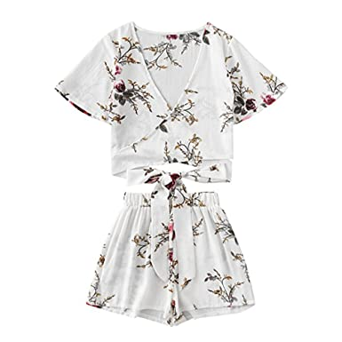 7d3b427882bc Chiffon Women Jumpsuit Ladies Summer Floral Print Self Tie Holiday  Beachwear Rompers Two Piece Playsuit Casual Pullover Sweatshirt Jumper T- Shirt Blouse ...