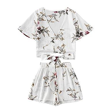 TUDUZ Bademode Zweiteilige Set Frauen Botanische Print Sommer V Kragen Top+Shorts Beachwear