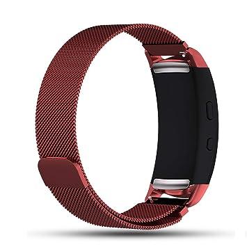 Zeehar - Correa magnética de Repuesto para Reloj Inteligente Samsung Gear Fit 2 SM-R360/Gear Fit2 Pro SM-R365, Rojo Oscuro: Amazon.es: Deportes y aire libre